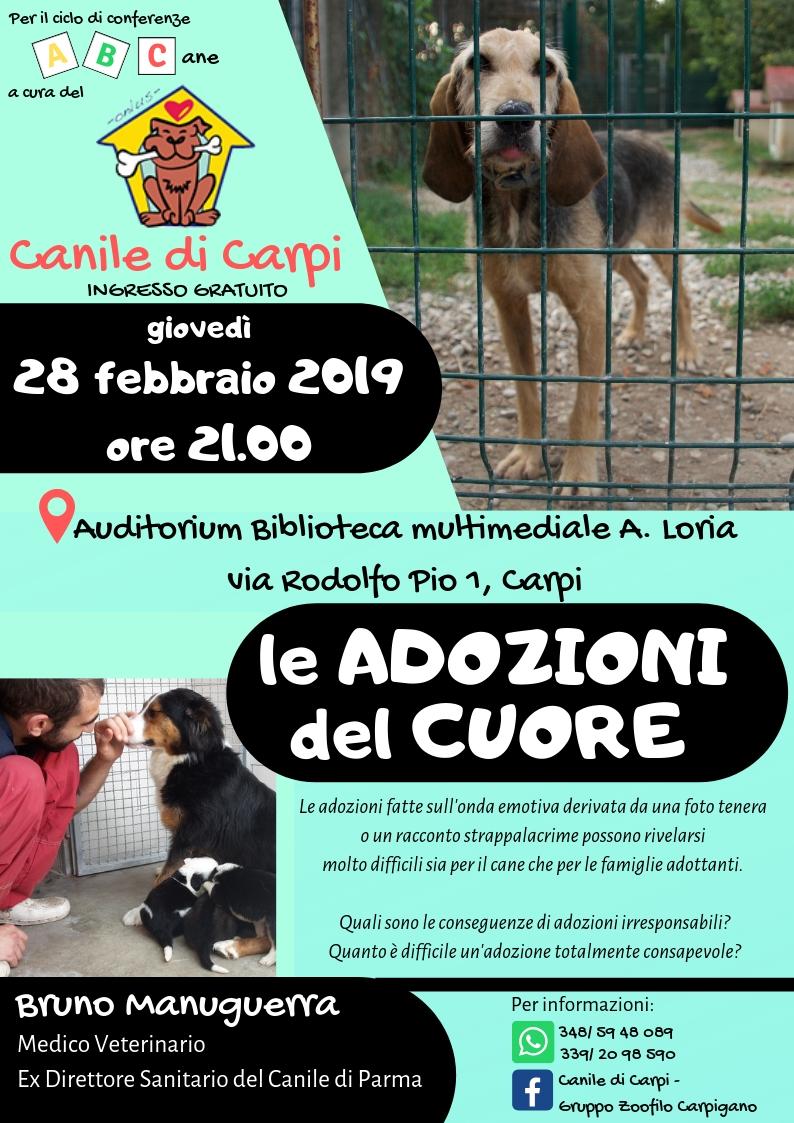 """28 febbraio, conferenza """"LE ADOZIONI DEL CUORE"""" con Bruno Manuguerra, medico veterinario"""